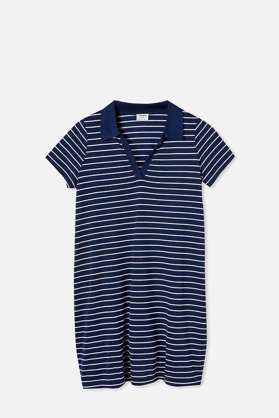 Tina Polo Tshirt Dress, NAVY/WHITE STRIPE