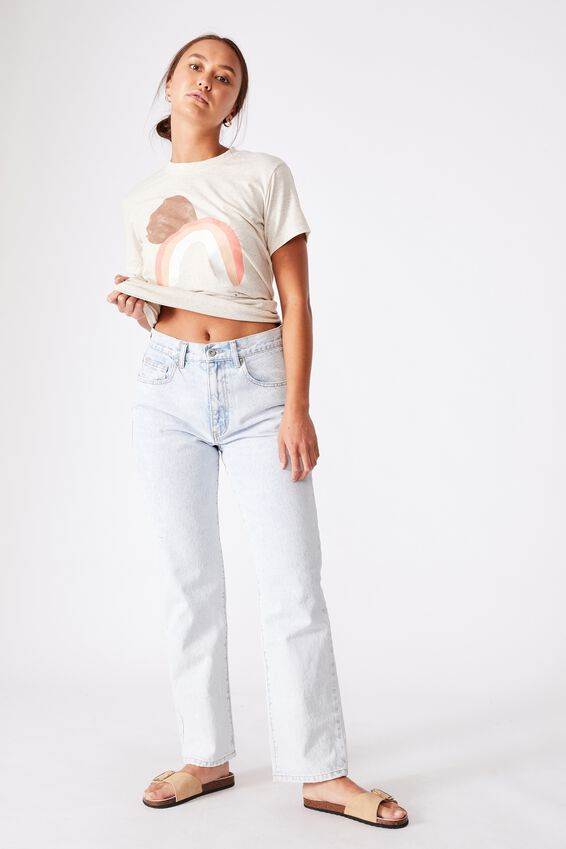 Classic Arts T Shirt - Poly Linen Blend, FUTURE IS BRIGHT/GARDENIA MARLE