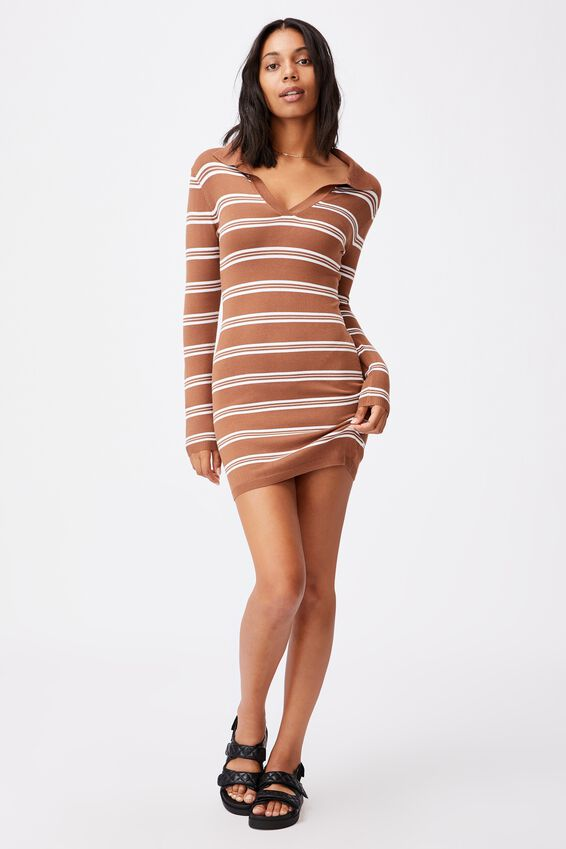 Nicola Knit Polo Mini Dress, LORETTA STRIPE LEAF BROWN