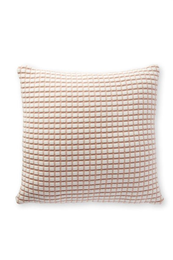 Macy Cushion, POWDER PINK GRID