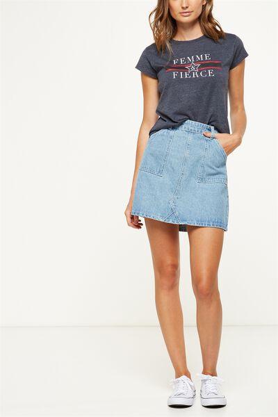 The Carpenter Mini Denim Skirt, BLEACH BLUE