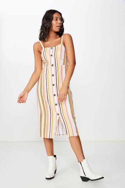 Woven Lush Button Through Midi Dress, TILLY STRIPE TAUPE