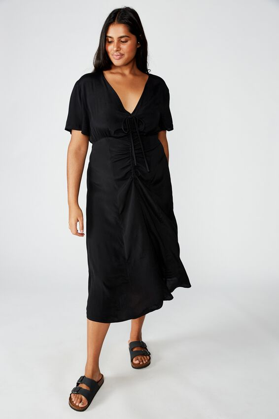 Curve Woven Marissa Gathered Front Midi Dress, BLACK