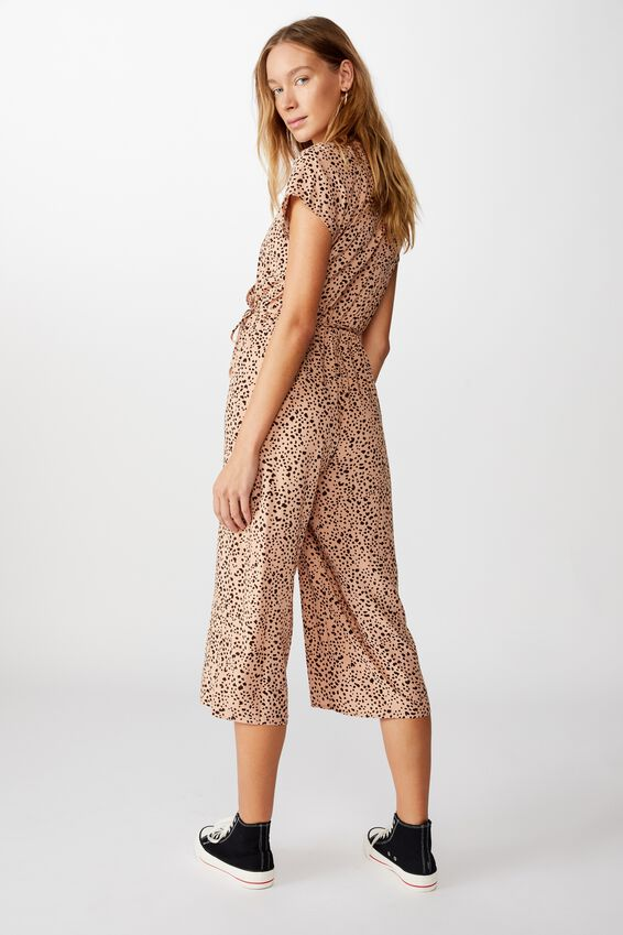 Woven Jamie Short Sleeve Jumpsuit, PIPER ANIMAL NEUTRAL