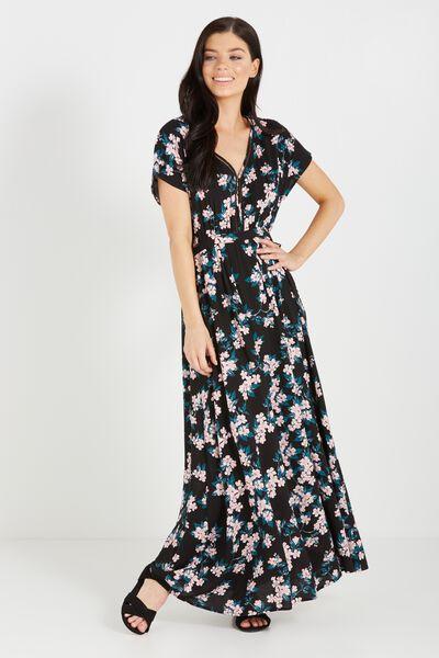 Woven Mira Kimono Maxi Dress, CHERRY BLOSSOM BLACK