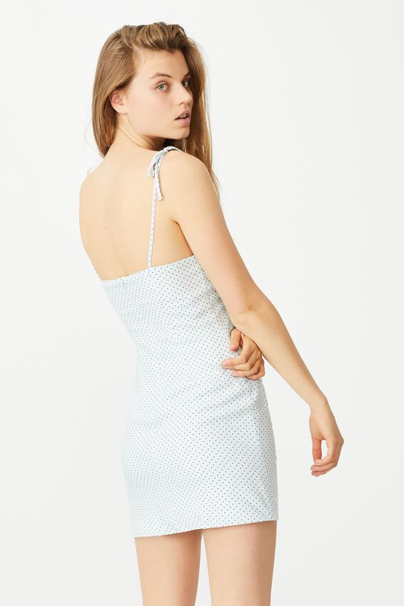 Woven Holly Ruched Strappy Mini Dress, TIFFANY SPOT PLEIN AIR