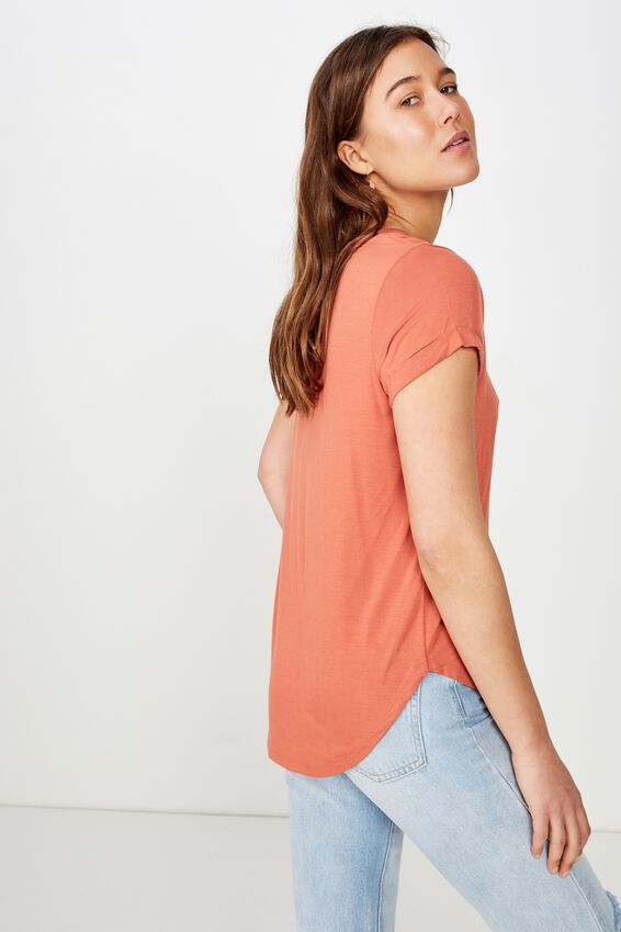 Karly Short Sleeve V Neck Top, BRUSCHETTA