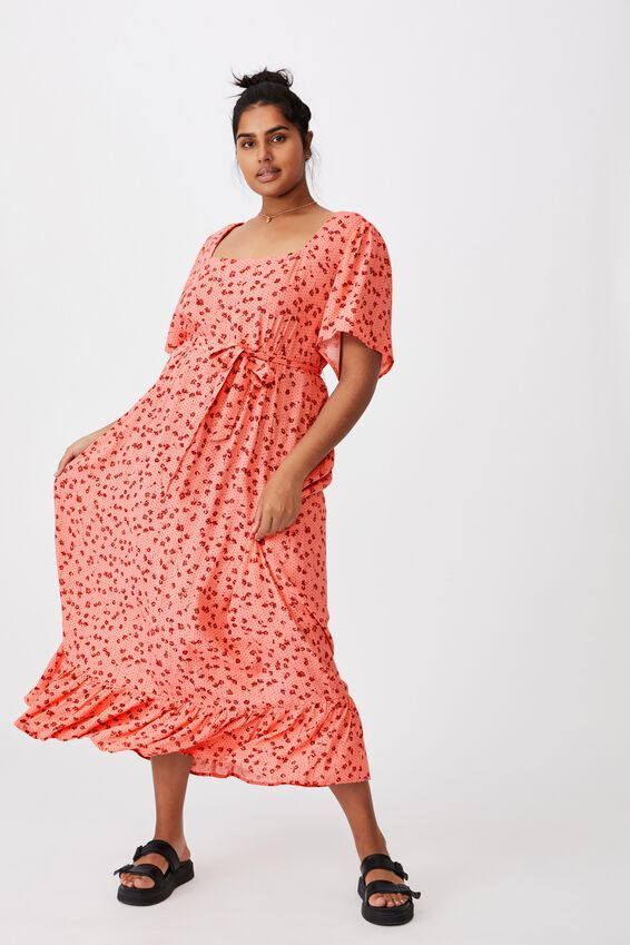 Curve Woven Laura Frill Hem Maxi Dress, LAURA DITSY MUSK PINK