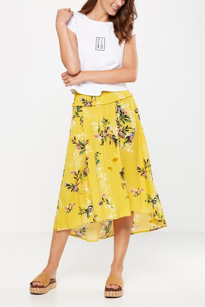 Woven Romy Shirred Maxi Skirt, PENNY ORIENTAL LEMON