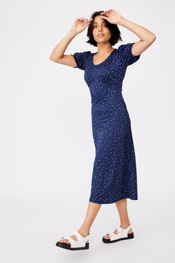 Elina Short Sleeve Midi Dress, BELLA DITSY MEDIEVAL BLUE