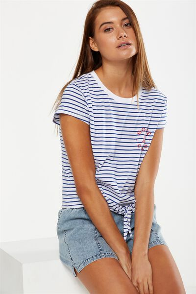 Tbar Tie Front Tee, WAVES OF MONTE CARLO MARINE BLUE STRIPE/WHITE