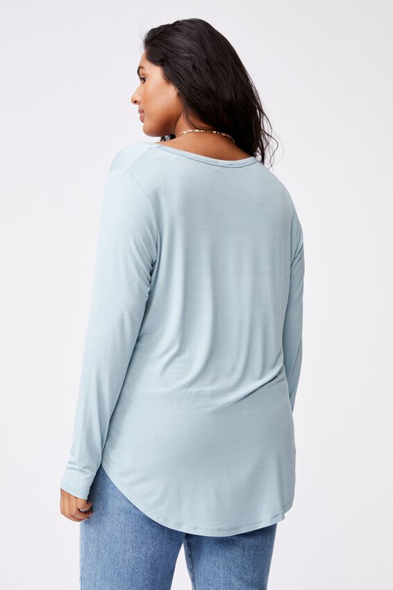 Curve Karly Long Sleeve Top, NOSTALGIA BLUE