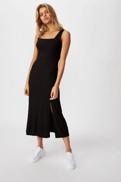 Tracey Strappy Split Midi Dress, BLACK RIB