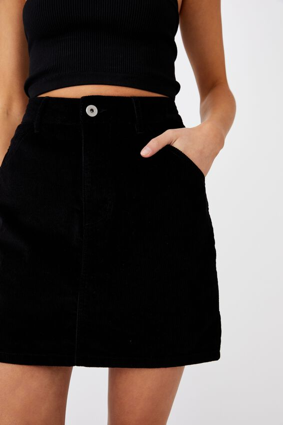Hazel Cord Mini Skirt, BLACK