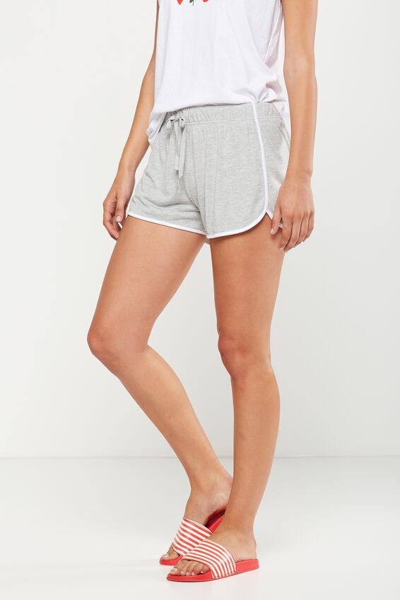 Retro Contrast Bind Short, GREY MARLE