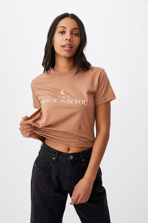 Classic Slogan T Shirt, THE MAGIC/HERITAGE BROWN