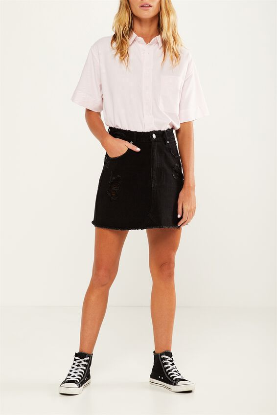 The Re-Made Mini Denim Skirt, BLACK RIPS