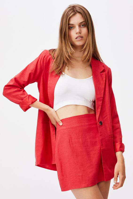 Ultimate Linen Blazer, LUCKY RED