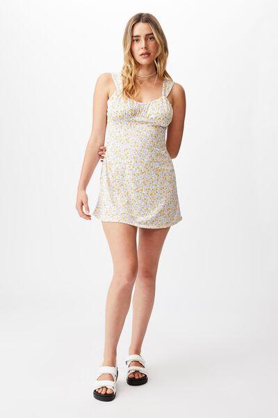 Georgie Ruched Front Skater Dress, KENDELLE DITSY WHITE