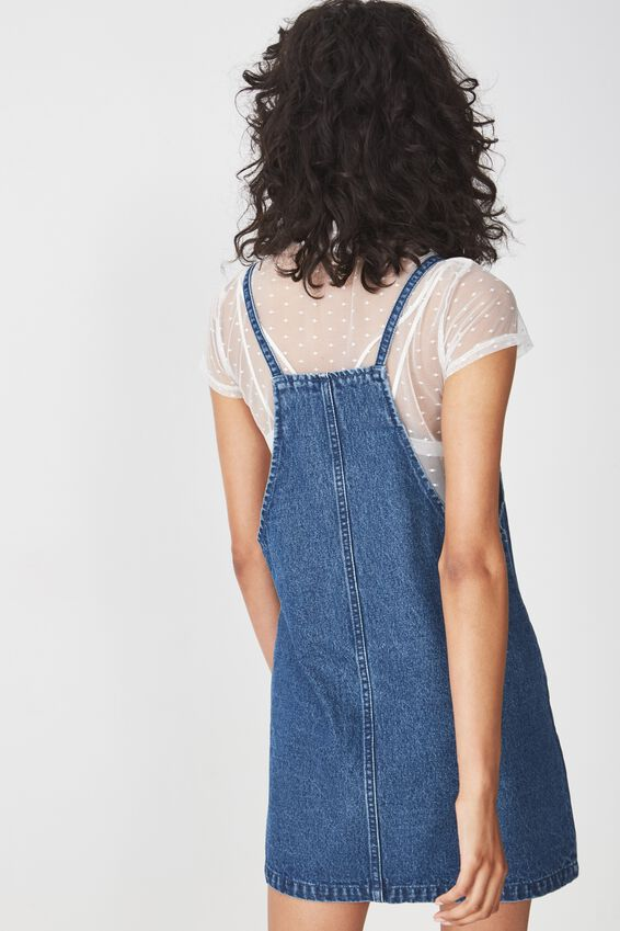 Faith Denim Pinafore Mini Dress, BLUE WASH
