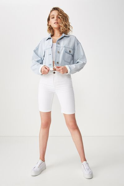 High Rise Denim Bike Short, WHITE