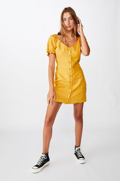Woven Aurora Short Sleeve Mini Dress, MINERAL YELLOW
