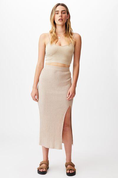 Match Me Knit Midi Skirt, SILVER STONE
