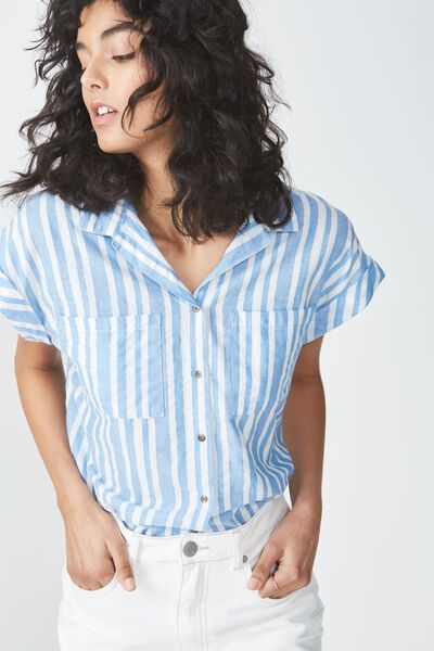 Emily Short Sleeve Shirt, MULTI BLUE TEXTURED STRIPE