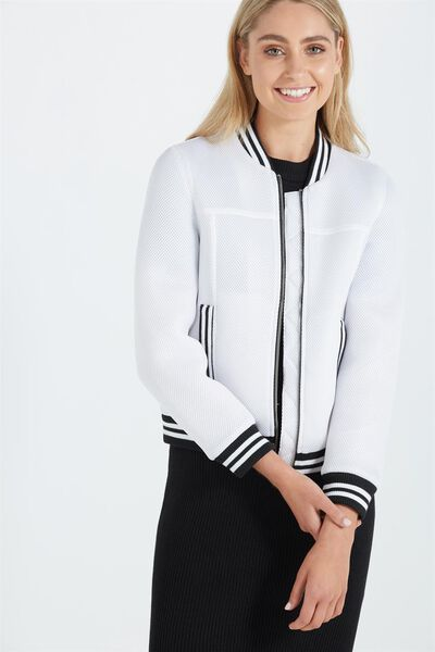 Mesh Sporty Bomber, WHITE