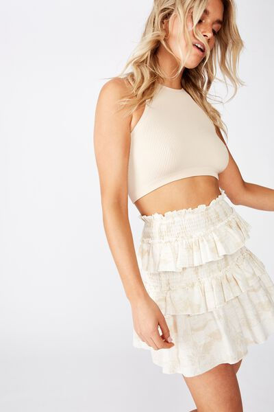 Scarlet Shirred Mini Skirt, TAMMY TROPICAL PARCHMENT