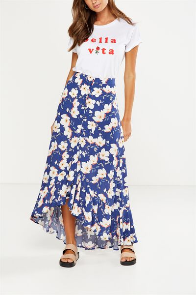 Woven Sonia Button Through Skirt, LANA FLORAL BLUE DEPTHS