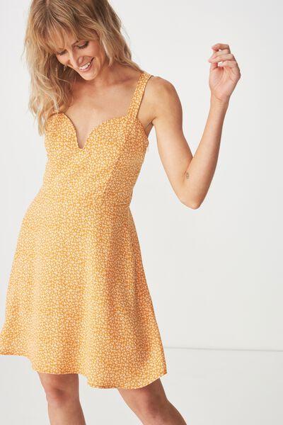 Woven Joni V Neck Strappy Mini Dress, CARRIE DITSY INCA GOLD