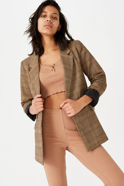 Slouch Blazer, BROWN CHECK