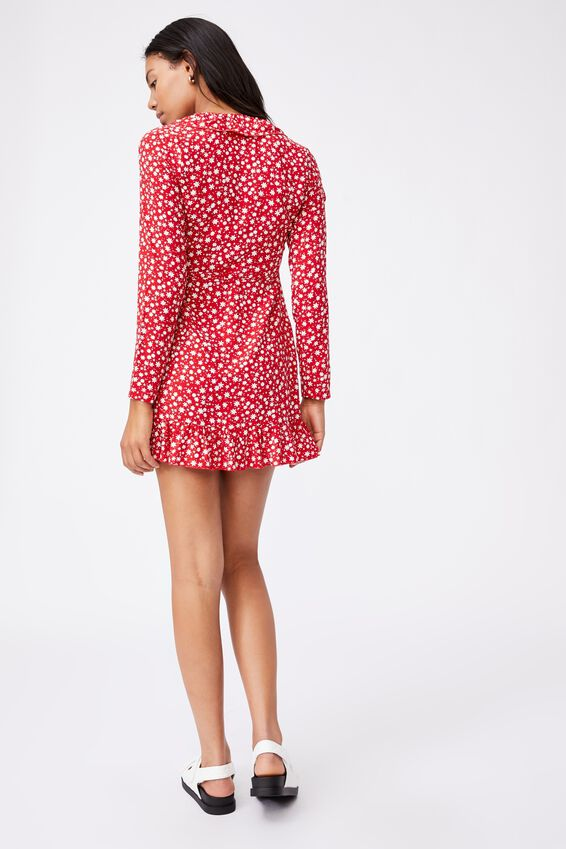 Woven Lillie Long Sleeve Ruffle Wrap Mini Dress, SUSIE DITSY LUCKY RED