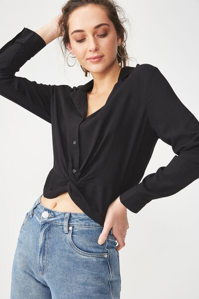 Whitney Twist Front Blouse, BLACK