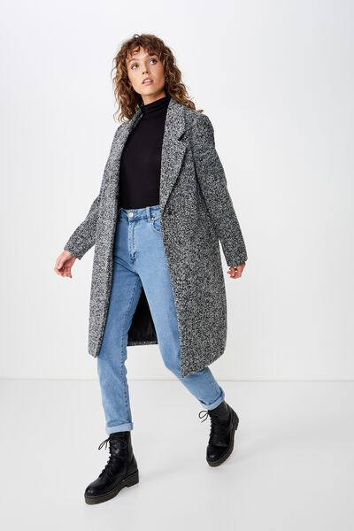 New Mid Length Coat, CHARCOAL