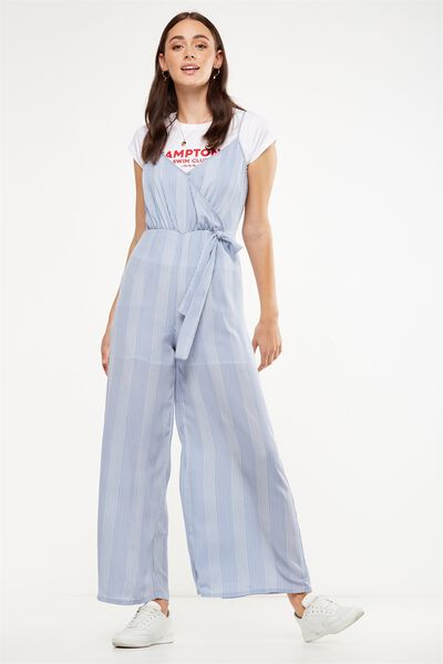 Woven Sully Strappy Wrap Jumpsuit, HANNA STRIPE
