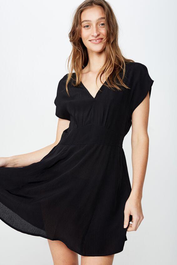 Woven Ultimate Tea Dress, BLACK