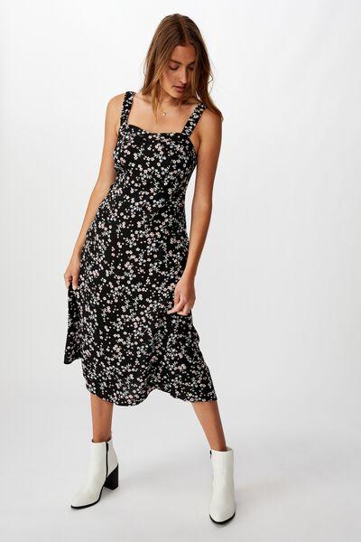 Woven Melanie Midi Slip Dress, MILLIE FLORAL BLACK