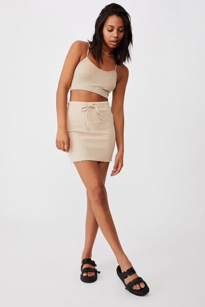 Streamline Ribbed Mini Skirt, LATTE