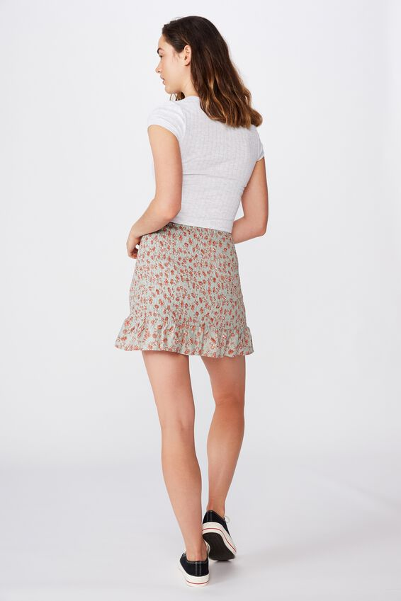 Ruby Shirred Mini Skirt, RACHEL FLORAL JADE