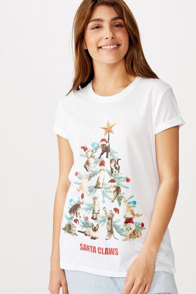 Classic Christmas T Shirt, SANTA CLAWS/WHITE