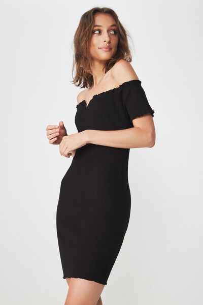 Pippa V Notched Bodycon Mini Dress, BLACK RIB
