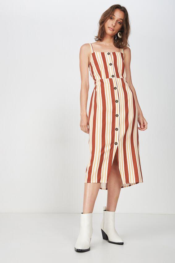 Woven Lush Button Through Midi Dress, KELLY STRIPE ARABIAN SPICE