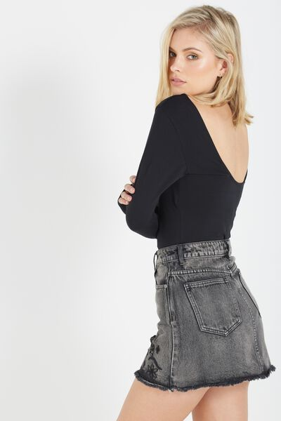 Veronica Low Back Bodysuit, BLACK