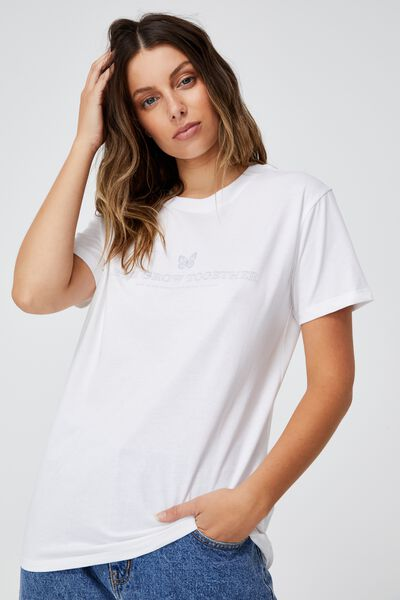 Classic Slogan T Shirt, GROW TOGETHER/WHITE