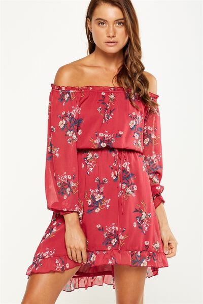 Woven Lorne Off The Shoulder Dress, HOLLY FLORAL RED BUD