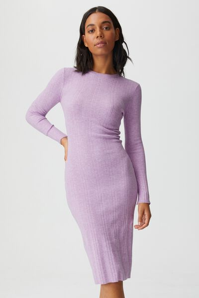 Ultimate Knit Midi Dress, LILAC BLOOM MARLE