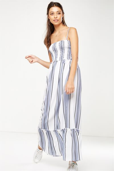 Woven Miranda Shirred Strappy Maxi Dress, HANNA STRIPE CADET BLUE