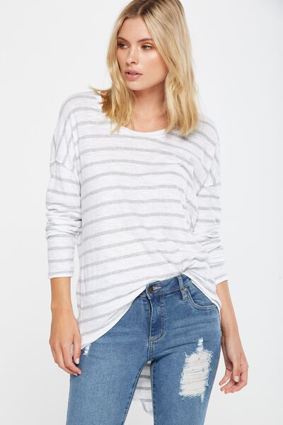 Bessie Open Back Long Sleeve Top, JACK STRIPE WHITE/GREY MARLE
